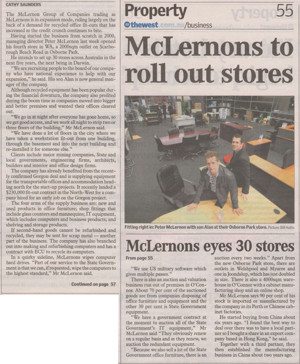 mclernons stores in the west australian newspaper