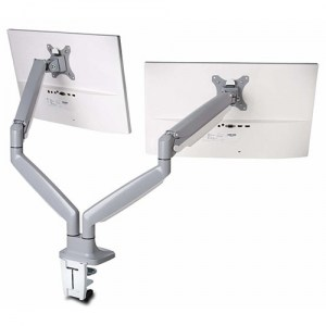 KENSINGTON® SMARTFIT ONE TOUCH ADJUST DUAL MONITOR ARM GREY